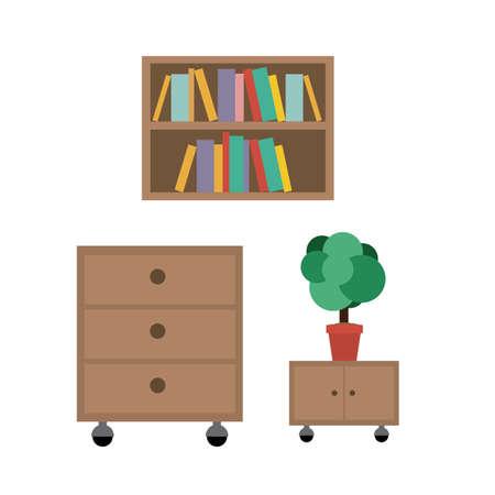 articulos oficina: Art�culos de oficina sobre el fondo gris, ilustraci�n vectorial