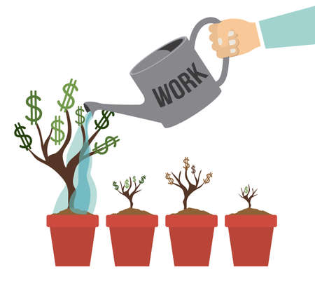 growing money: Growing money concept over gray background, vector illustration