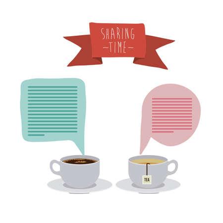 socializando: Compartir tiempo sobre fondo gris, ilustraci�n vectorial
