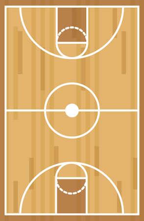 木製の背景、ベクトル図の上のバスケット ボール コート