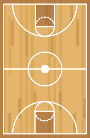 Basketball court over wooden background, vector illustration Vettoriali