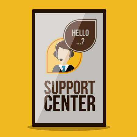 Support Center design over yellow background, vector illustration Vector