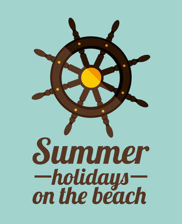 Summer holidays design over blue background, vector illustration