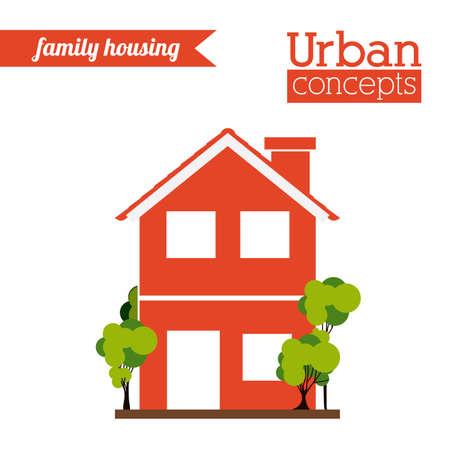 urban building: Urban building over white background, vector illustration