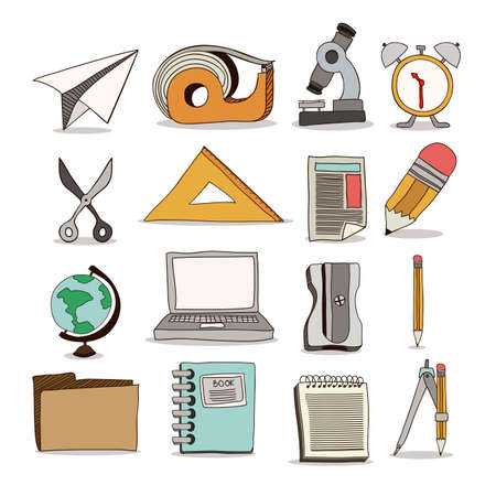 Back to school items over white background, vector illustration Vector