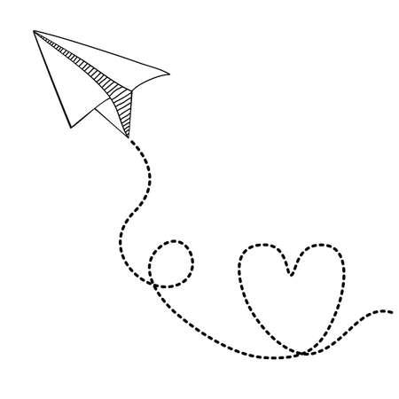 conception d'avion de papier sur fond blanc, illustration vectorielle