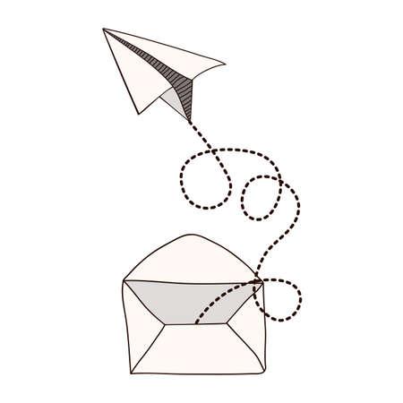 Papieren vliegtuig ontwerp op een witte achtergrond, vector illustratie