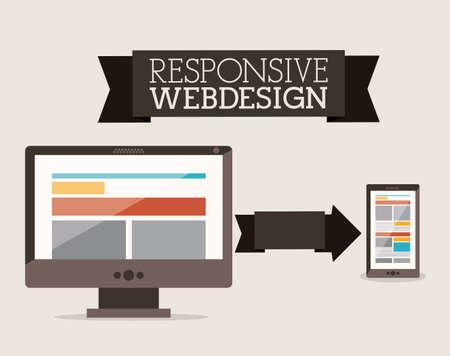 adjustable: Web design over beige background, vector illustration