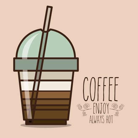 fag: Coffee design over beige background, vector illustration