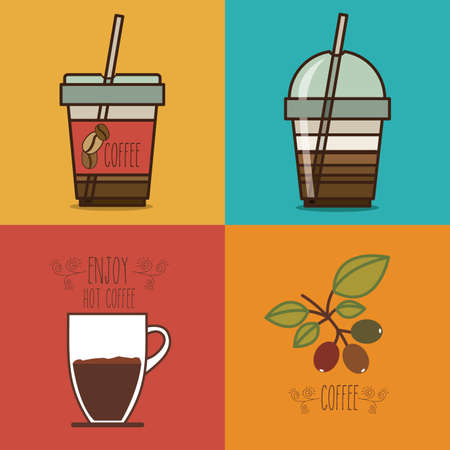 fag: Coffee design over colorful background, vector illustration Illustration