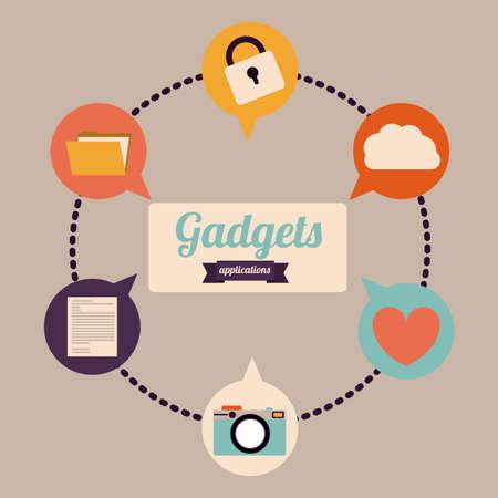 gadget: Conception gadget sur fond beige, illustration vectorielle Illustration