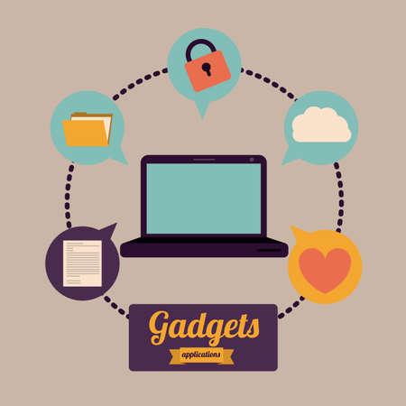 gadget: Conception gadget sur fond brun, illustration vectorielle