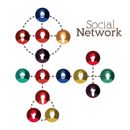 socializando: Diseño de la red social más de fondo blanco, ilustración vectorial Vectores