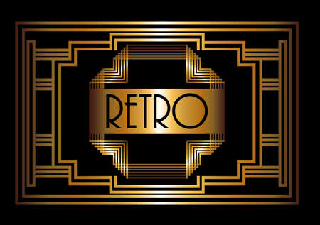 roaring 20s: Gatsby design over black background, vector illustration