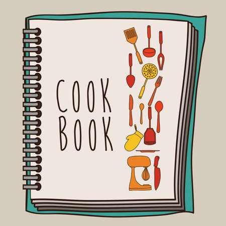 Cook book design over beige background ,vector illustration Vetores