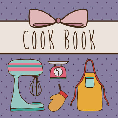 Cook book design over purple background ,vector illustration Vector