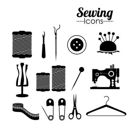 Sewing Design auf weißem Hintergrund, Vektor-Illustration
