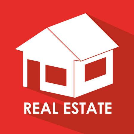 hometown: Home design over red background, vector illustration Illustration