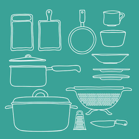 Kitchen supplies design over green background, vector illustration Vector