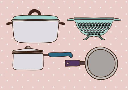strainer: Kitchen supplies design over pink background, vector illustration