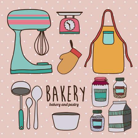 Kitchen supplies design over pink background, vector illustration
