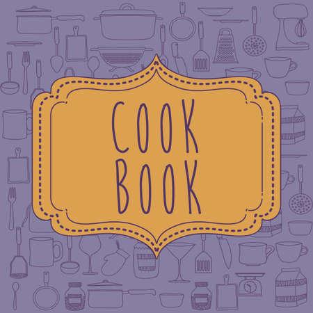 Cook book design over purple background ,vector illustration Vector