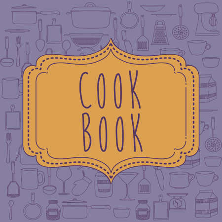 cook book: Cook book design over purple background ,vector illustration