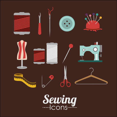 Sewing design over brown background, vector illustration Vector