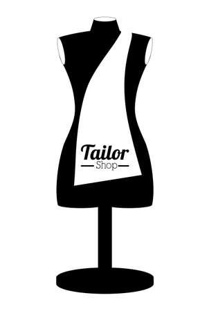 Tailor Shop-Design auf weißem Hintergrund, Vektor-Illustration