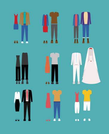 Clothing design over blue background, vector illustration
