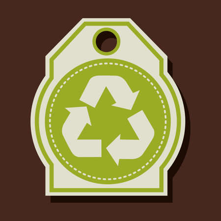 enviromental: Dise�o de reciclaje sobre fondo marr�n, ilustraci�n vectorial
