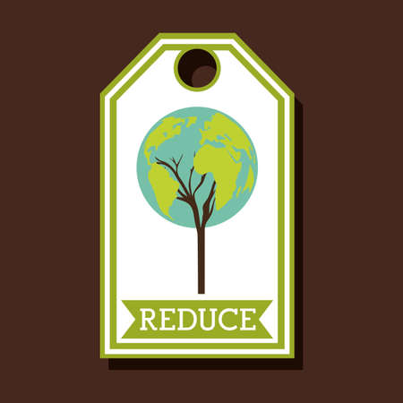 enviromental: Recycle design over brown background, vector illustration