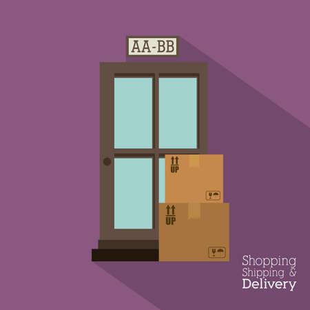 Delivery design over purple background,vector illustration Stock Vector - 28487644