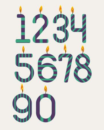 candle flame: Numbered candles design over   white background, vector illustration Illustration