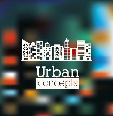 urbanization: Urban design over blur background, vector illustration Illustration