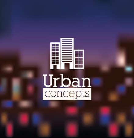 urbanisierung: Stadtgestaltung �ber Unsch�rfe Hintergrund, Vektor-Illustration