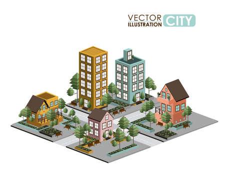 Urban design over white background, vector illustration Vector