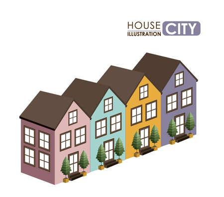 urbanization: Urban design over white background, vector illustration
