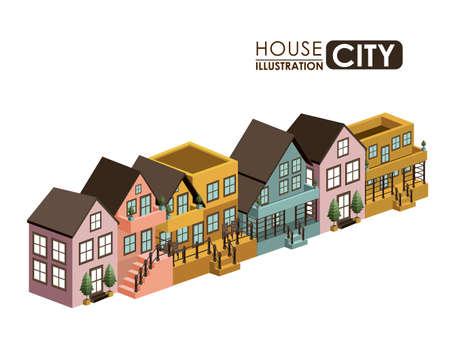 urbanisierung: Urbanes Design auf wei�em Hintergrund, Vektor-Illustration Illustration