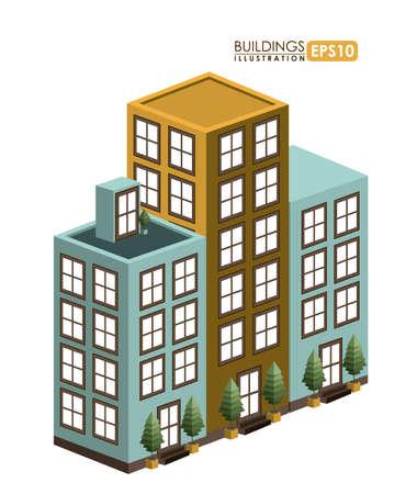 edifice: Urban design over white background, vector illustration