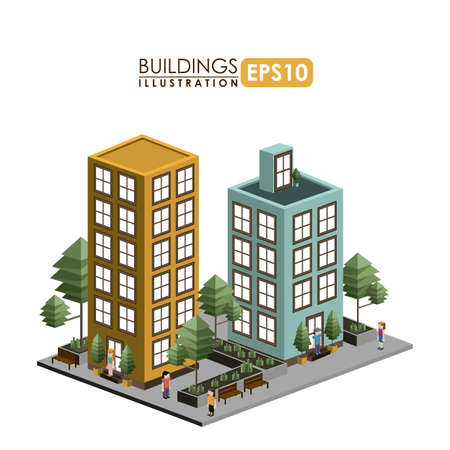 residental: Urban design over white background, vector illustration