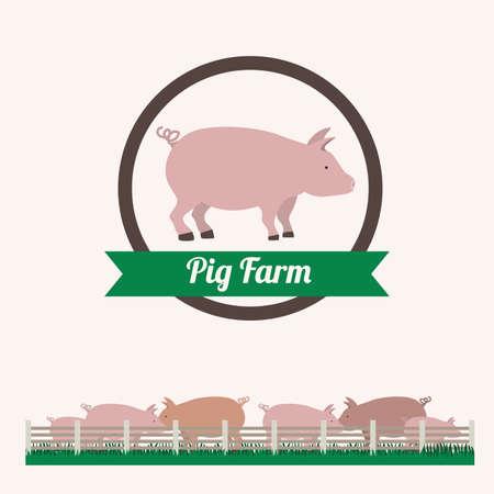 porcine: Farm design over white background, vector illustration