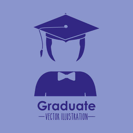 Graduation design over blue background, vector illustration Vector