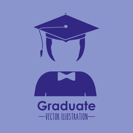 anonymus: Graduation design over blue background, vector illustration