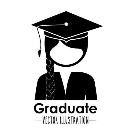 Graduation design over white background, vector illustration Vector