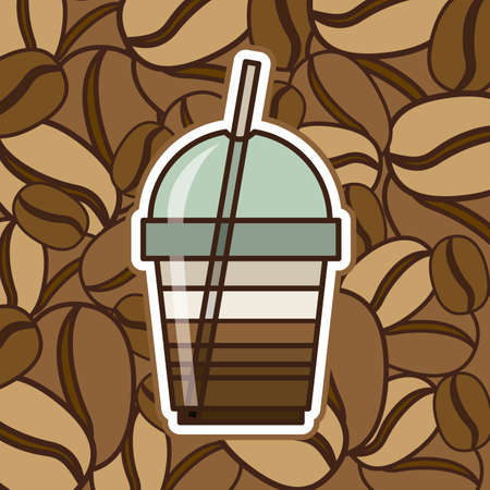 plastic straw: Coffee design over brown background, vector illustration