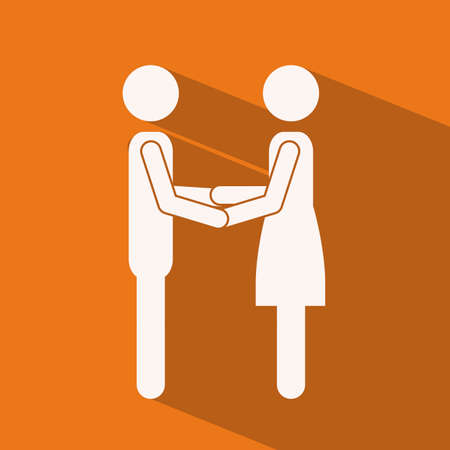 heterosexuality: Love design over orange background,vector illustration
