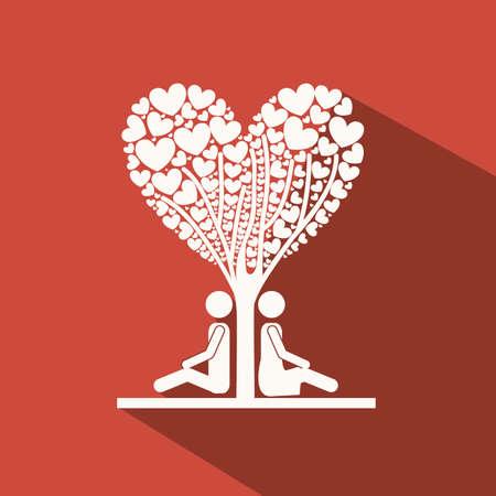 heterosexuality: Love design over red  background,vector illustration Illustration