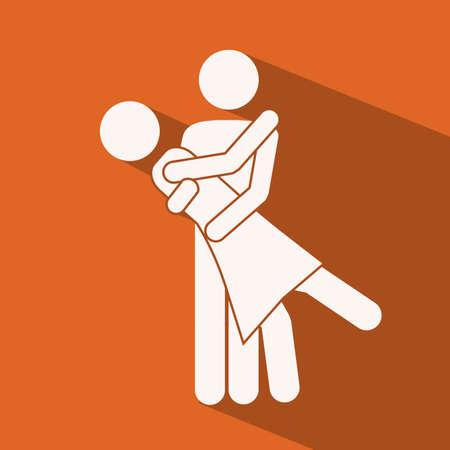 Love design over orange background,vector illustration