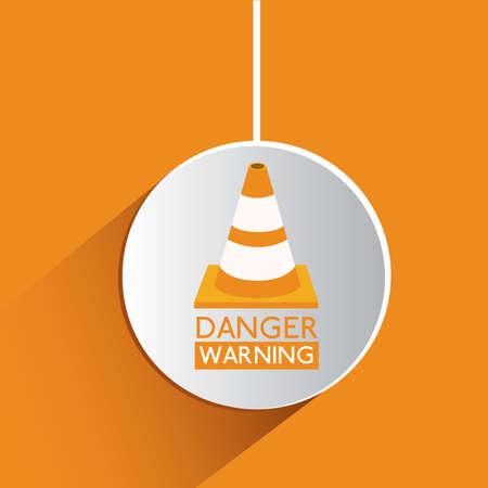 dangerous construction: Danger design over orange background, vector illustration Illustration